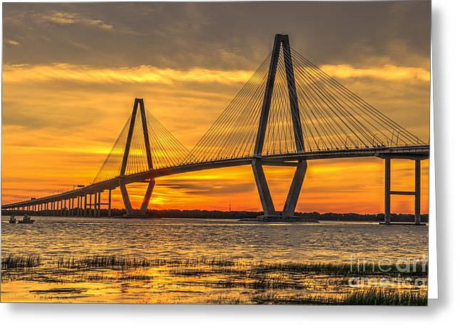 Roadway Greeting Cards - Ravenel Bridge Sunset Greeting Card by Dale Powell