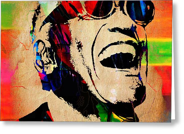 Soul Greeting Cards - Ray Charles Collection Greeting Card by Marvin Blaine