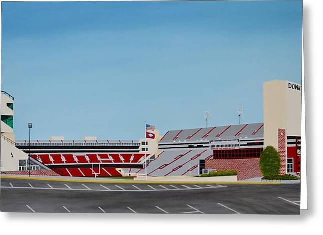 Arkansas Paintings Greeting Cards - Razorback Stadium Greeting Card by Clinton Cheatham