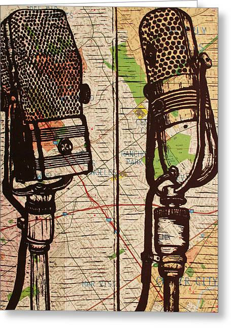 Recently Sold -  - Lino Greeting Cards - 2 RCA Microphones Greeting Card by William Cauthern