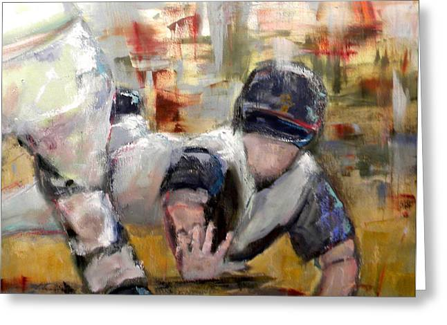 Baseball Paintings Greeting Cards - Reaching for Home Greeting Card by Lisa Moore