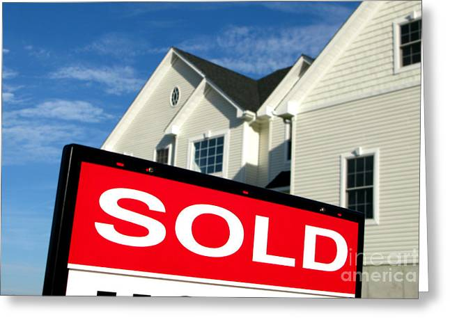 Broker Greeting Cards - Real Estate Realtor Sold Sign and House for Sale Greeting Card by Olivier Le Queinec