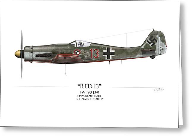 Luftwaffe Greeting Cards - Red 13 Focke-Wulf FW 190D - White Background Greeting Card by Craig Tinder