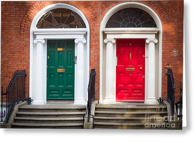 Entryway Photographs Greeting Cards - Red and Green Greeting Card by Inge Johnsson