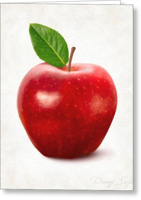 Single Object Paintings Greeting Cards - Red Apple Greeting Card by Danny Smythe