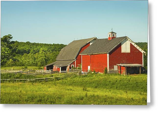 Maine Farms Greeting Cards - Red Barn And Fence On Farm In Maine Greeting Card by Keith Webber Jr