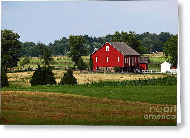 """battle Field"" Greeting Cards - Red Barn Gettysburg Greeting Card by James Brunker"