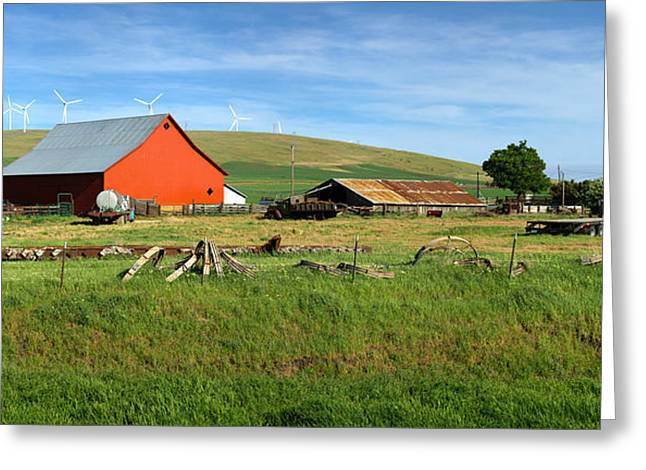 Barn Yard Greeting Cards - Red barn in a farm Eastern Washington. Greeting Card by Gino Rigucci