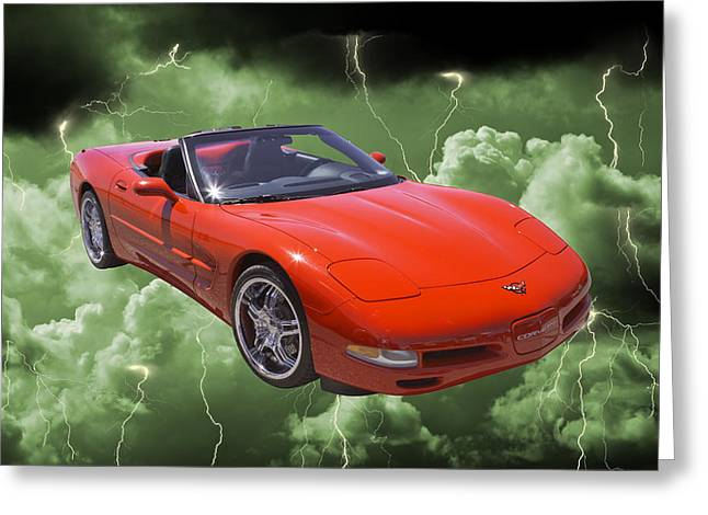 Thunderstorm Greeting Cards - Red C5 Corvette convertible Muscle Car Greeting Card by Keith Webber Jr