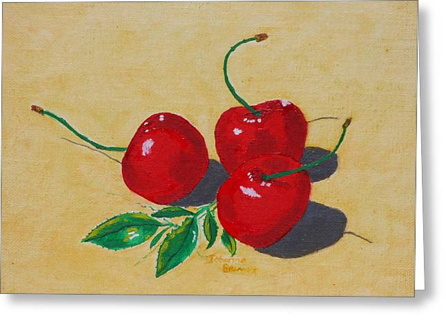 Fruit And Wine Greeting Cards - Red cherries Greeting Card by Johanna Bruwer