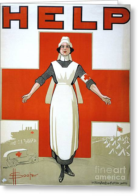Armband Greeting Cards - RED CROSS POSTER, c1917 Greeting Card by Granger