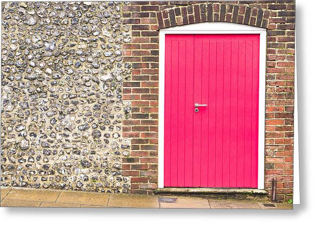 Warm Light Greeting Cards - Red door Greeting Card by Tom Gowanlock