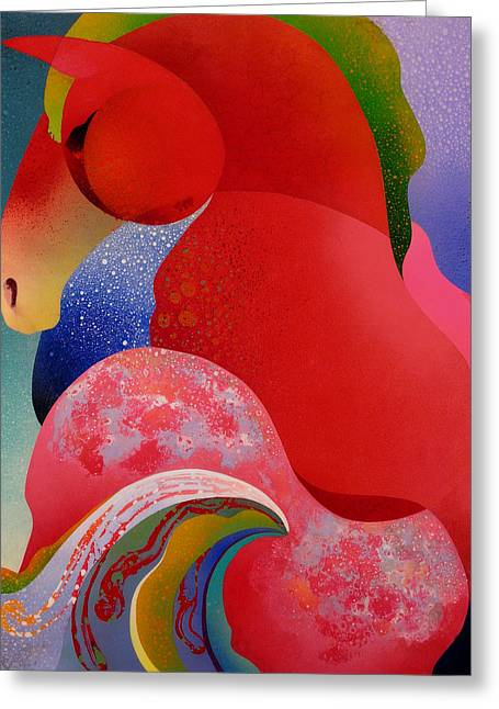 Sea Horse Greeting Cards - Red Equus Greeting Card by Fred Chuang