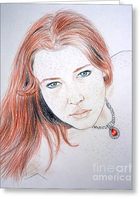 Jim Drawing Drawings Greeting Cards - Red Hair and Freckled Beauty Greeting Card by Jim Fitzpatrick
