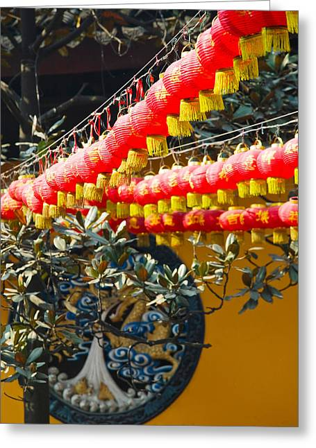 Chinese Lanterns Greeting Cards - Red Lanterns At A Temple, Jade Buddha Greeting Card by Panoramic Images