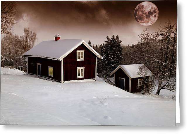 Snow Scape Greeting Cards - Red Moon Rise Greeting Card by Christian Lagereek