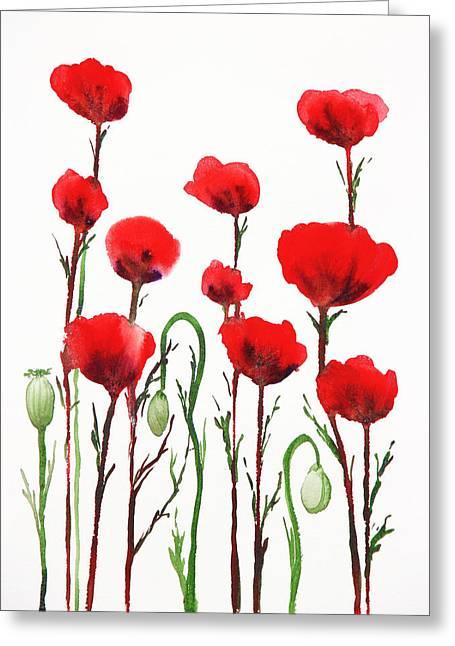 Red Poppies Greeting Card by Irina Sztukowski