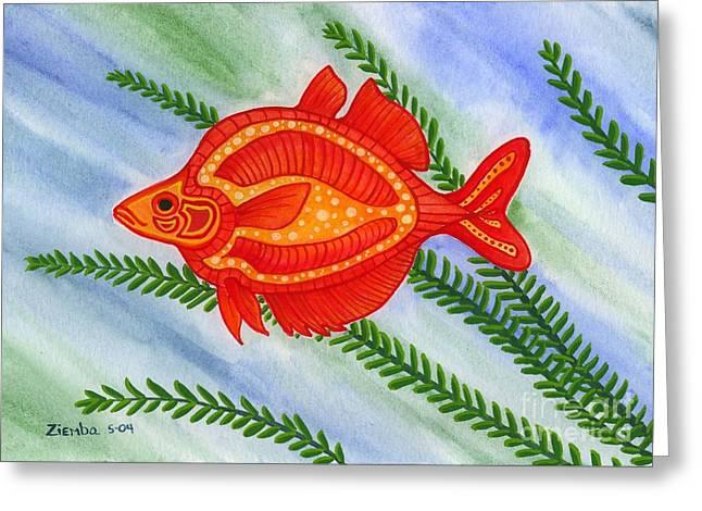 Lori Ziemba Greeting Cards - Red Rainbow Fish Greeting Card by Lori Ziemba