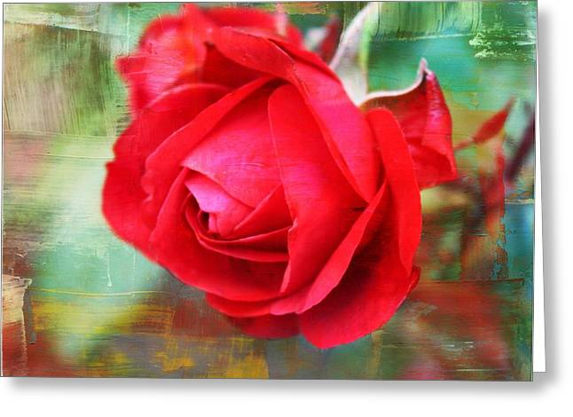 Rose Red City Greeting Cards - Red Rose Greeting Card by Cathie Tyler