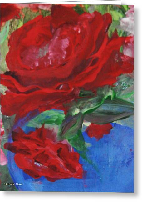 Steal Prints Greeting Cards - Red Rose Greeting Card by Marina R Vladis