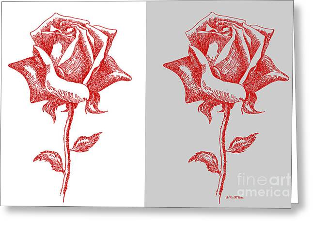 Floral Digital Drawings Greeting Cards - 2 Red Roses Poster Greeting Card by Gordon Punt