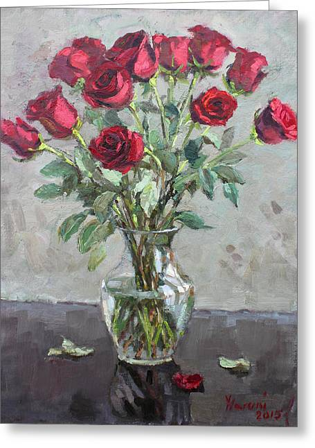 Bouquet Of Roses Greeting Cards - Red Roses Greeting Card by Ylli Haruni