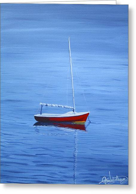 New England Ocean Drawings Greeting Cards - Red Sailboat  Greeting Card by Greg Lindberg