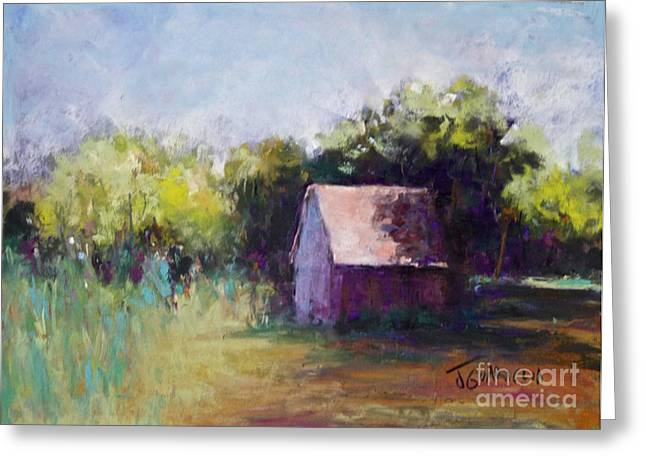 Sheds Pastels Greeting Cards - Red Shed Greeting Card by Joyce A Guariglia