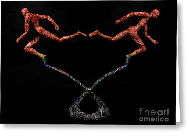 Sculpture Mixed Media Greeting Cards - Red Shift a science sculpture by Adam Long Greeting Card by Adam Long