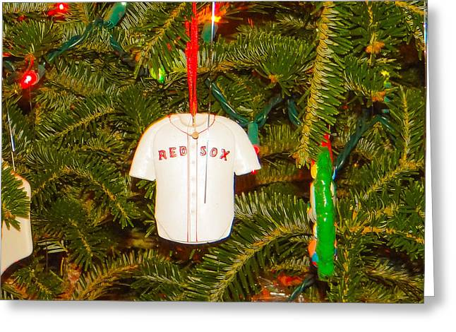 Baseball Shirt Greeting Cards - Red Sox Greeting Card by Dennis Dugan