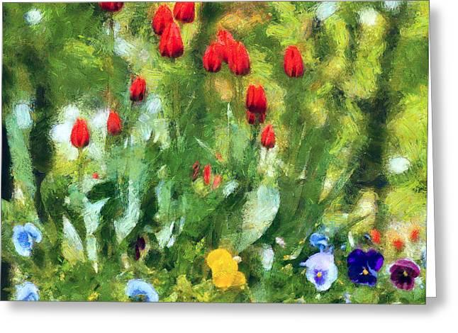 Interior Still Life Digital Greeting Cards - Red Tulips Greeting Card by Yury Malkov