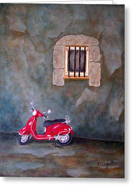 Roman Streets Greeting Cards - Red Vespa Greeting Card by Pamela Allegretto
