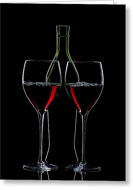 Alex Sukonkin Greeting Cards - Red Wine Bottle And Wineglasses Silhouette Greeting Card by Alex Sukonkin