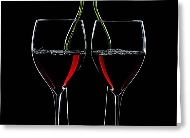 Red Wine Bottle And Wineglasses Silhouette Greeting Card by Alex Sukonkin