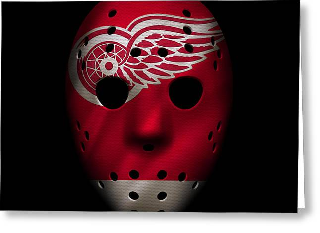 Ice-skating Greeting Cards - Red Wings Jersey Mask Greeting Card by Joe Hamilton