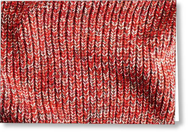 Abstract Style Greeting Cards - Red wool Greeting Card by Tom Gowanlock