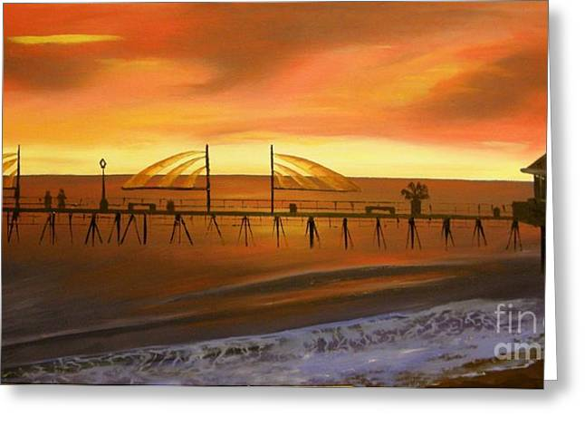 Redondo Beach Pier At Sunset Greeting Card by Bev Conover