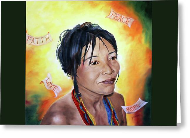 Spiritual Portrait Of Woman Paintings Greeting Cards - Reflecting on His Goodness Greeting Card by Jeanette Sthamann