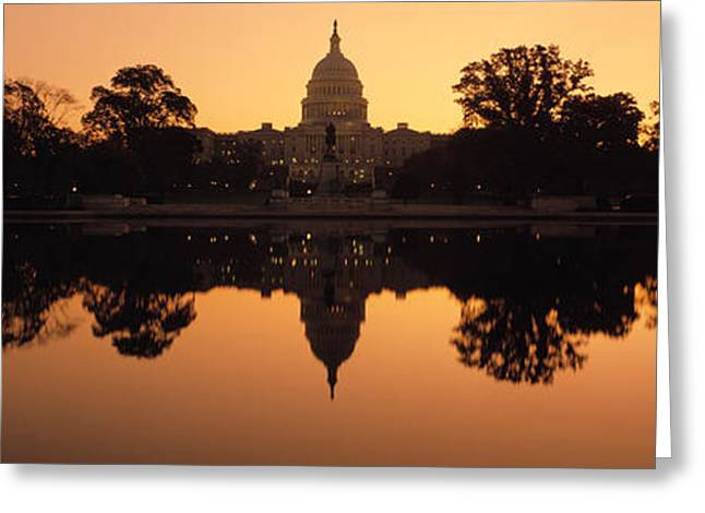 Capitol Hill Greeting Cards - Reflection Of A Government Building Greeting Card by Panoramic Images