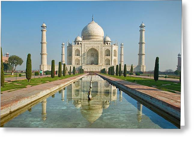 Taj Greeting Cards - Reflection Of A Mausoleum In Water, Taj Greeting Card by Panoramic Images
