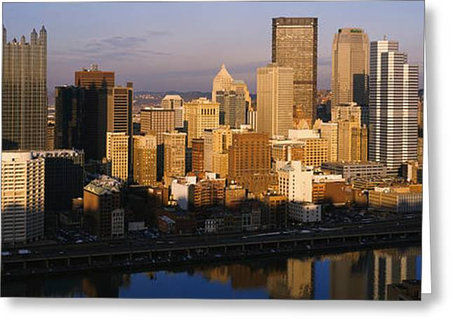 Monongahela River Greeting Cards - Reflection Of Buildings In A River Greeting Card by Panoramic Images