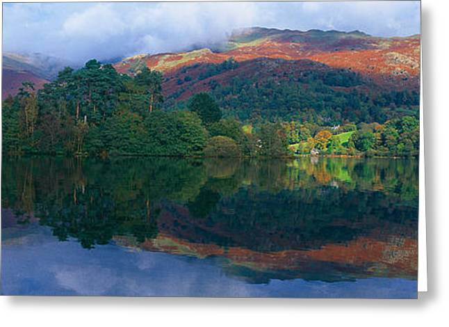 The Hills Greeting Cards - Reflection Of Hills In A Lake Greeting Card by Panoramic Images
