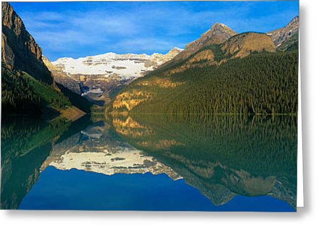 Lake Louise Greeting Cards - Reflection Of Mountains In Water, Lake Greeting Card by Panoramic Images