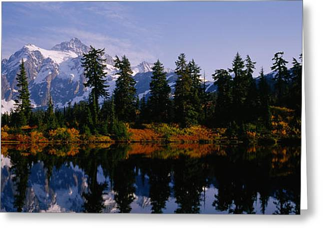 North Cascades Greeting Cards - Reflection Of Trees And Mountains Greeting Card by Panoramic Images