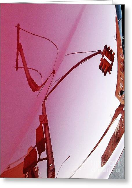 City Art Greeting Cards - Reflection on a Red Automobile Greeting Card by Sarah Loft