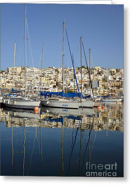 Port Greeting Cards - Reflections in Mikrolimano port Greeting Card by George Atsametakis