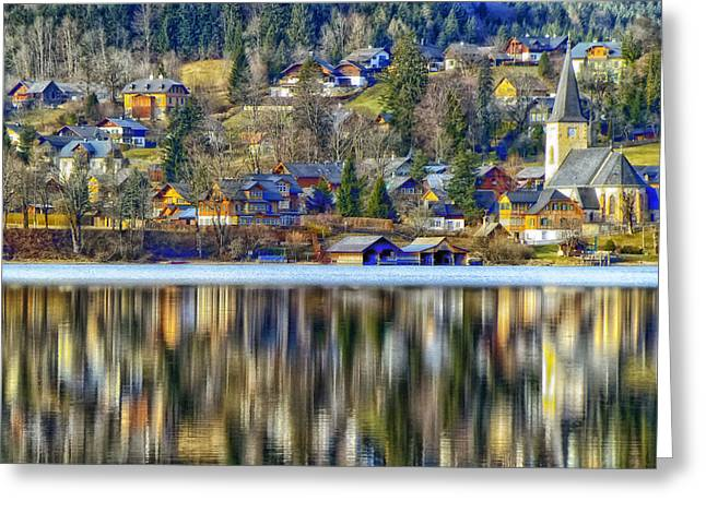 Agios Greeting Cards - Reflections of Agios Stefanos - Greece Greeting Card by Mountain Dreams