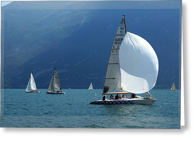 Sailboats In Water Greeting Cards - regatta in Italy Greeting Card by Khromykh Natalia