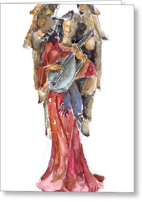 Lute Paintings Greeting Cards - Renaissance Angel Greeting Card by Claudia Hafner