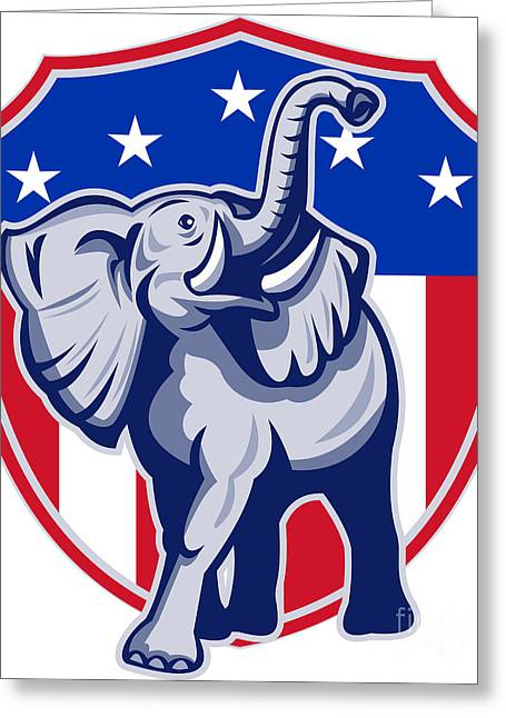 Grand Old Party Greeting Cards - Republican Elephant Mascot USA Flag Greeting Card by Aloysius Patrimonio